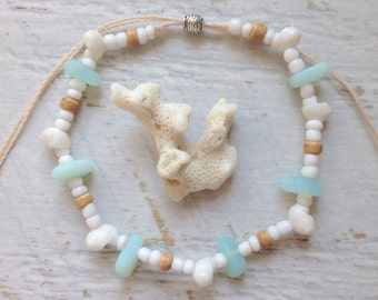 beach anklet, cultured sea glass jewelry, shell anklet, beachcomber beach jewelry, mermaid anklet