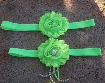 Neon Green garter Set - Wedding garter Set - handmade garter sets, bright green garter set, ruffled flower, pearls, single garter available