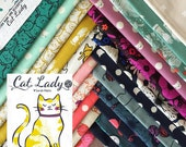 Cat Lady - Fat Quarter Bundle of 18 Cotton prints - Sarah Watts for Cotton + Steel - CATLADY-FQ