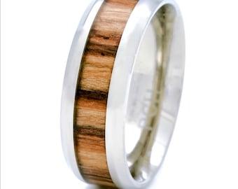 Titanium Wedding Ring Band  Real Wood Inlay 8 MM Comfort Fit Golden Zebra Wood