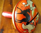 """Hard-to-Find 1940's/1950's Tin Lithograph Halloween Noisemaker--Ghosts/Black Cats--4-1/2"""" Long x 3-1/4"""" Diameter--Made in the USA"""