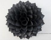 texture black paper dahlia . 9'' dahlia flower wall art . origami flower . wedding gift . origami gifts . dahlia door wreath