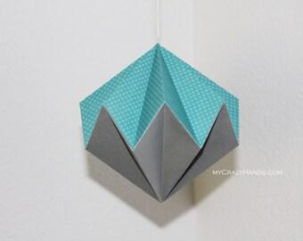 origami diamond ball . hanging home decor . origami kusudama . origami ball . paper diamond -blue silver mixed