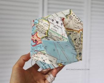 texture US map diamond globe . paper diamond . origami kusudama . hanging home decor . map origami ball -United States