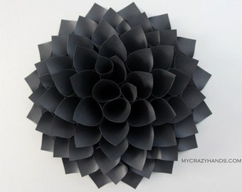 texture black paper dahlia . 9'' dahlia flower wall art . origami flower . wedding gift . origami gifts . dahlia door wreath