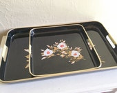 Pair of Vintage Trays Black and Gold Rattan Handles - Great condition