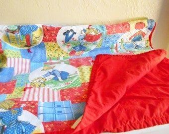 Vintage Children's Quilt Blanket Large Red Blue Children Kids Large