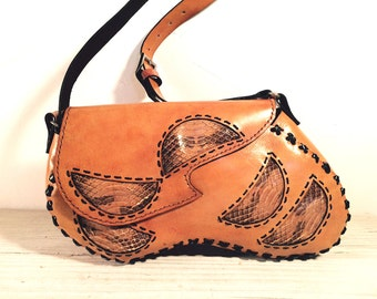 Unique Handbag, Hand Made by Wabags, Cognac Tan All Leather with Genuine Snake Skin Inlays, Black Hand Stitching