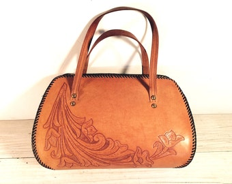 Vintage Hand Tooled Purse, Thick Tan Leather with Hand Lacing, Floral Design with Brown Lacing, Hand Bag