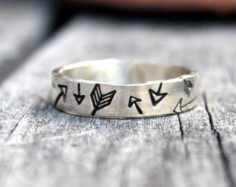 Personalized Jewelry - Custom Sterling Silver Ring - Tribal Arrow Collage Band