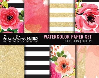 Watercolor Digital Scrapbooking Paper - Floral Watercolor digital paper set - Digital Paper Watercolor - COMMERCIAL USE Read Terms Below