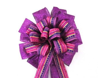 Purple Bow, Lavender Bow, Christmas Bow, Tree Topper Bow, Christmas Tree Bow