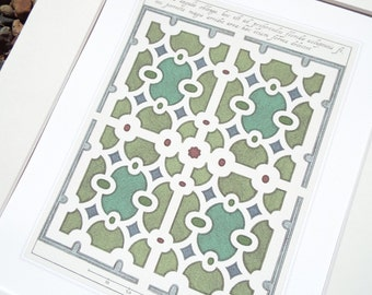 Antique Italian Garden Plan Rectangle in Color Archival Print on Watercolor Paper