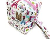 KNITTING PROJECT BAG - Sock Cube, Zippered Box Bag, Paris Sights, Zippered Project Bag, Handmade, Knitting Bag, Crochet, Sock Bag, Hat Bag