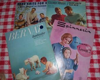 Collection of 4 Vintage 1960's Knitting Pattern Books for Men..Ladies..Babies..Mid Century Patterns..Columbia Minerva..Bear Brand..Bernat