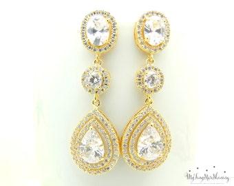 Bridal earrings Teardrop Wedding Earrings Weddings Jewelry Earrings Bridal Earrings Bridesmaid Earrings Dangle Earrings Cubic Zirconia