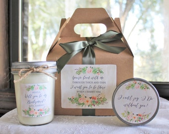 Will You Be My Bridesmaid Gift/ Will you be my Maid of Honor Gift/ Bridesmaid Candle/ Sugar Scrub/ Unique Bridesmaid Gift/ Succulent Wedding