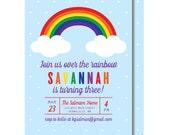 Rainbow Birthday Invitation, Colorful Party Invitations, Printable or Printed