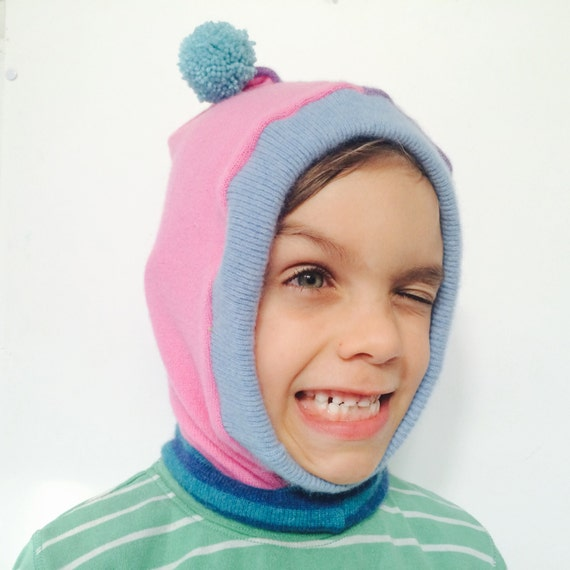 DIZZY 4-7 Years Cashmere Kids Hat Balaclava Toddler Childrens Bobble Hat Snood Hoodie Upcycled Cashmere Pom Pom Unisex