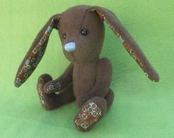 Mosaic - Chocolate Brown Easter Bunny, Artist soft sculpture rabbit, plush rabbit