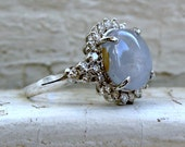 Retro Vintage Star Sapphire and Diamond Engagement Ring - 5.52ct.