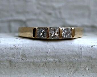 Vintage Channel 14K Yellow Gold Diamond Wedding Band - 0.75ct