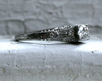 RESERVED - Stunning Art Deco Vintage Filigree Platinum Diamond Engagement Ring - 0.56ct.