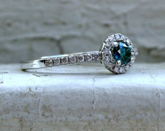 RESERVED - Vintage 14K White Gold Pave Diamond and Blue Diamond Halo Ring - 0.38ct.