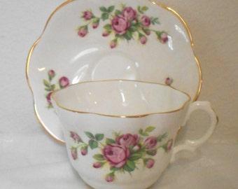On Sale! Vintage English Bone China Teacup and Saucer, China Tea Cup and Saucer with Little Pink Roses