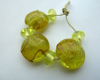 handmade yellow shard lampwork glass beads, UK lentil set