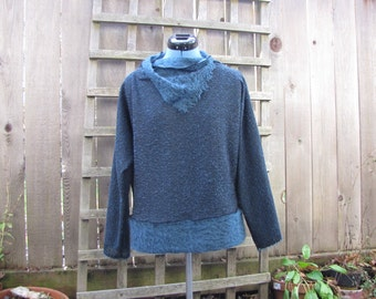 Eco Tattered Dark Blue Knit Sweater Pullover Top/ Funky Blue Sweater Shirt with Cowl Neck M/L