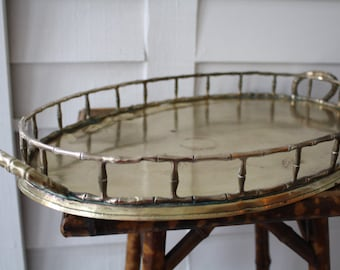 Large brass tray, faux bamboo brass tray, Chinoiserie, Hollywood Regency