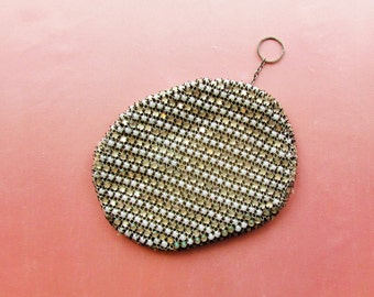 Vintage evening purse, small size clutch purse with faux pearls and rhinestones, 1930's evening bag made in Czechoslovakia