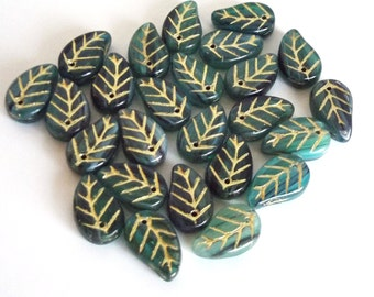 Czech Beads, Green Leaves with markings, 13x7mm -  25 beads