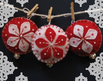 Handmade Red Felt Snowball Star Christmas Ornament Set - Set of 4