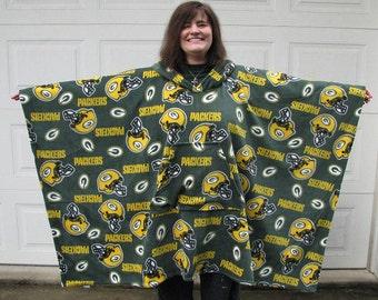 football poncho,NFL Team Poncho,Green Bay Packers poncho, Mens Poncho, Fleece Poncho, Poncho, sports poncho, hooded poncho, Choose your Team