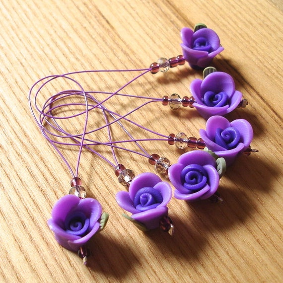 Knitting Rose Stitch : Fimo rose stitch marker set snag free pack of knitting
