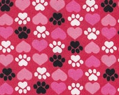 Snuggle Flannel Prints - Paws and Hearts - 31 inches