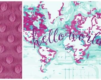 Purple Baby Girl Blanket - Baby Girl MINKY Blanket, Minky Baby Blanket, Hello World Baby Blanket, Personalized Girl Baby Blanket Purple