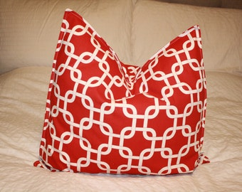 "20"" x 20"" Square Pillow Cover - Red/Tan Chain, Cushion Cover, Throw Pillow, Premier Prints, Baby, Nursery, Home, Beach, Cottage Pillow"