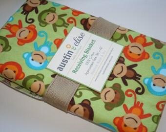 Baby Boy Blanket - Oversized Single-Sided Flannel Baby Receiving Blanket - Swaddle Blanket - Green Monkeys - Monkey Baby Blanket