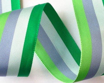"Acetate Stripes Ribbon - 1 1/2"" x 1 yd - Acetate Stripes in Kelly/Emerald, Periwinkle and Lime"