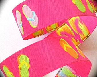 "Woven Jacquard Ribbon Flip Flops Hot Pink with Multi color flip flops 7/8"""