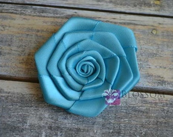 "Set of 4 flowers - TURQUOISE - The Laura Collection - 2.5"" Satin Rolled Ribbon Flowers - DIY Flower Headbands - Large Rosettes"