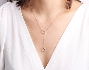 ON SALE Lariat Circle Necklace - Eternity necklace - open circle necklace