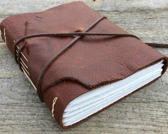 Leonardo da Vinci Rustic Leather Journal, Sketchbook. handmade
