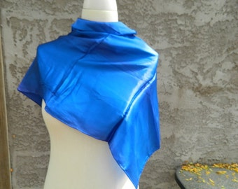 Dark Blue Square Japanese Scarf / Vintage Scarf / Royal Blue Solid Colored Head Scarf