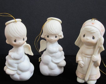 New Listing Three Precious Moments Christmas Tree Ornaments Handpainted Soft Pastels Three Inches Tall 1980's