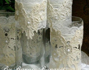 Lace candle holders for weddings- wintage lace vases- flower vases for weddins- wedding center peices