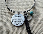 Handstamped Horse Quote Bracelet-Stainless Steel Expandable bracelet-Equestrian jewelry-Horse Lover-Charm Bangle-Tassel Bracelet